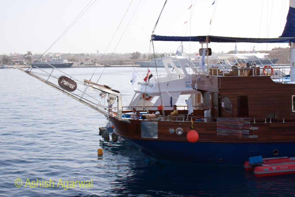 Couple of ships that carry tourists to the snorkeling or scuba diving areas at Sharm el Sheikh in Egypt
