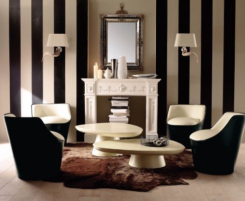 Black And White Decorating Impressive With Black and White Striped Wall Photo