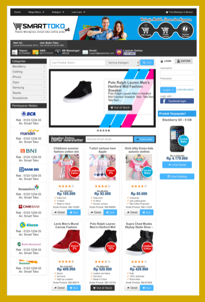 Template toko online wp