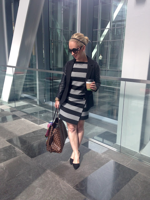 leather sleeved blazer, striped dress, marissa webb, banana republic