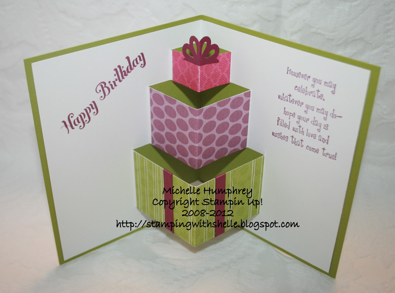 stamping with shelle pop up birthday card, Birthday card