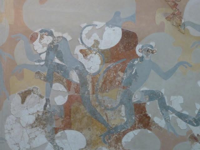 Santorin  -Fira - fresque des singes bleus