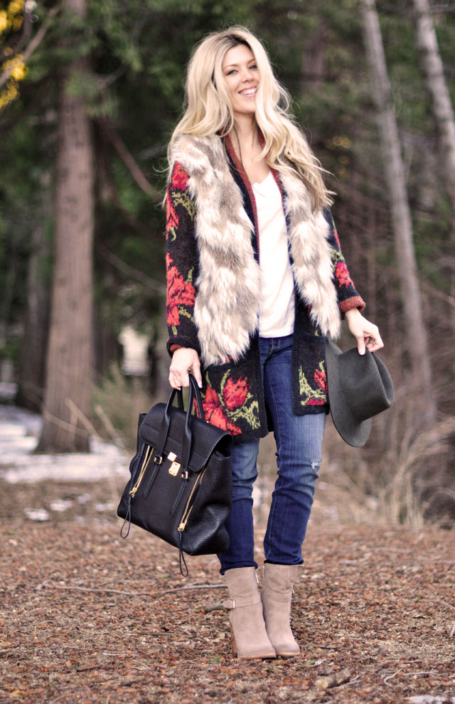 winter style, woodsy outfit in the woods, faux fur vest