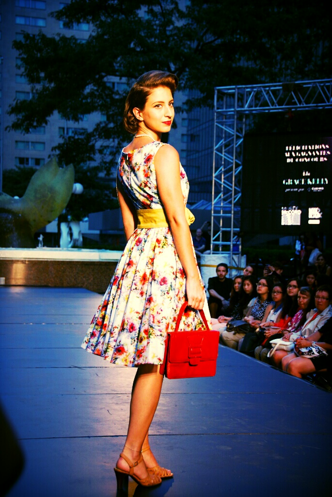 heels retro vintage fashion show runway catwalk floral dress yellow belt red purse festival mode design Montreal Grace Kelly