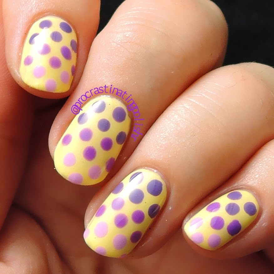 Purple dotted nail art