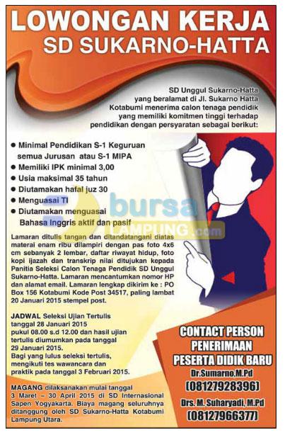 Lowongan Kerja SD Unggul SUKARNO-HATTA Kotabumi, Lampung Utara
