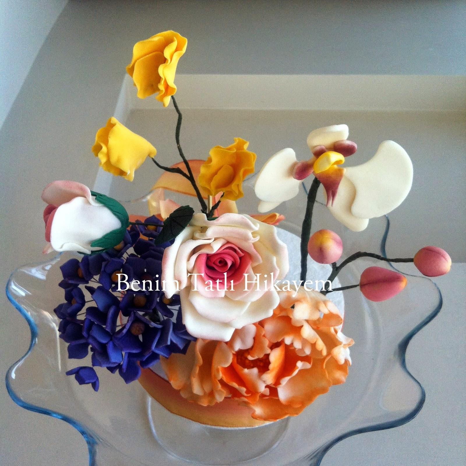 pastry chef, şekerden çiçekler