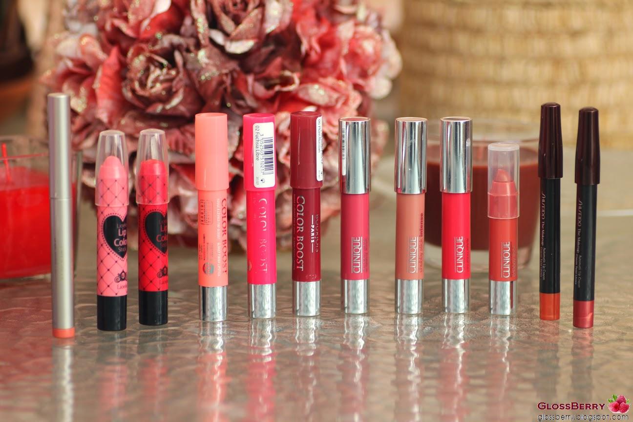 clinique chubby stick, lioele lip color. ga-de Crystallic Pure Shine Lip Color, bourjois color boost lip crayon, shiseido automatic lip crayon