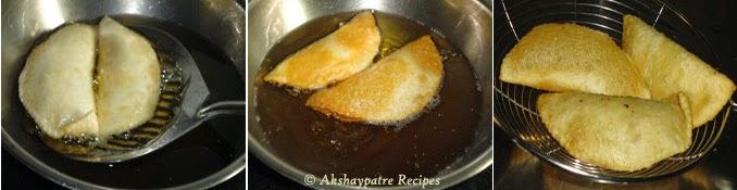 deep frying the karanji
