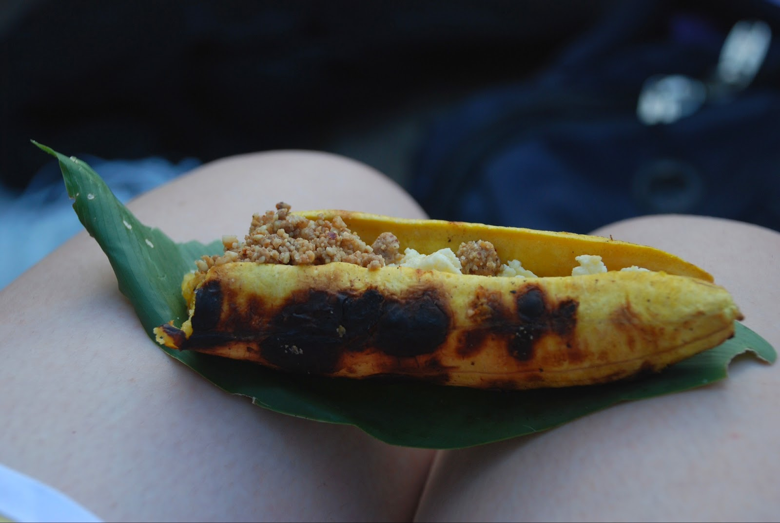 mani o queso,' a grilled plantain--hot dog style--with crushed peanuts ...