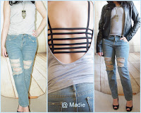 Outfit Backless Top & Boyfriend Jeans