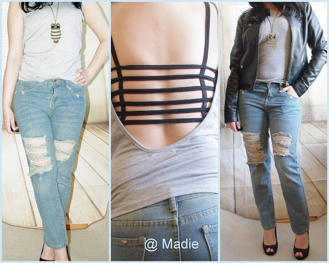 Outfit Casual Backless & Boyfriend Jeans