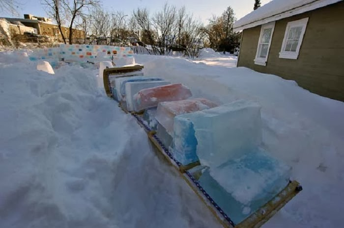 Lots and lots of ice blocks. (His neighbors were starting to stare.)