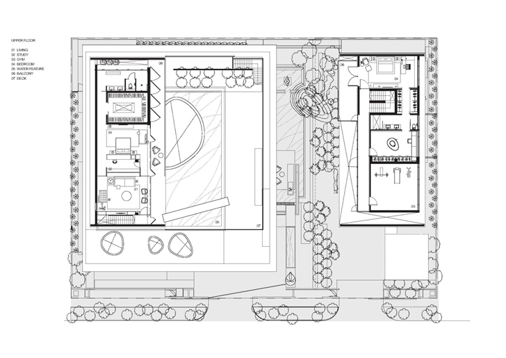First floor plan of The Wall House by FARM Architects