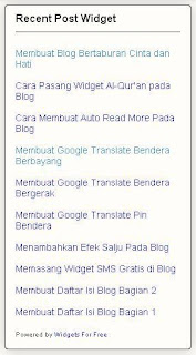 Recent Post Widget,Recent Post Widget No Thumbnail, Widget Blog, Recent Post Widget Sederhana, Recent Post Widget Simpla