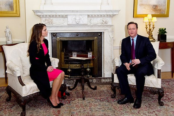 Queen Rania of Jordan meets British Prime Minister David Cameron at Number 10 Downing Street