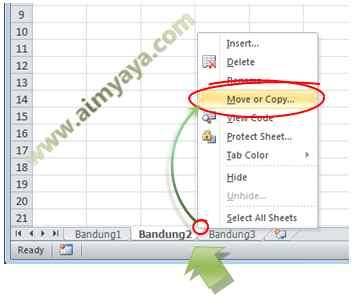 Gambar: Menggunakan fasilitas move or copy