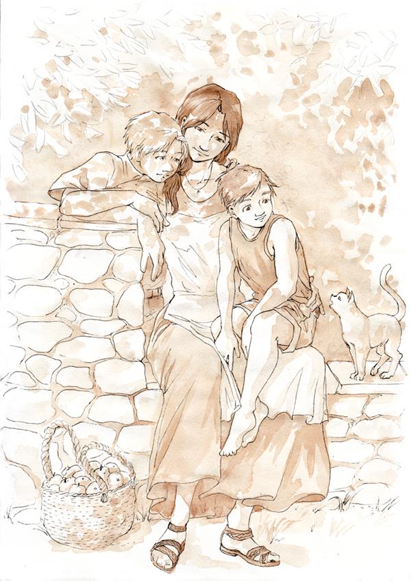 Trisha, Edward et Alphonse Elric - dessin de famille de Fullmetal Alchemist