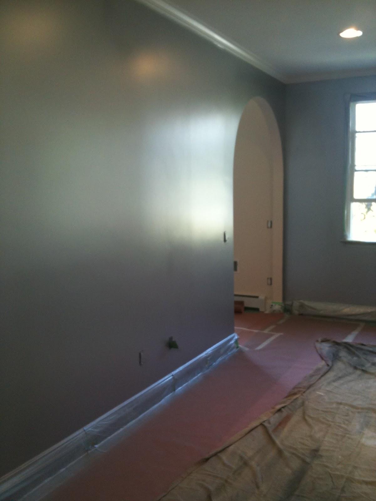 Metallic silver wall paint three walls of this living - Silver metallic wall paint ...