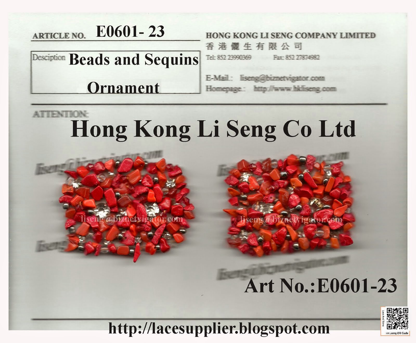 Beads and Sequins Ornament Manufacturer Wholesaler Supplier - Hong Kong Li Seng Co Ltd