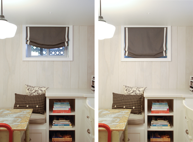 Relaxed roman blinds rambling renovators for Window coverings for small basement windows