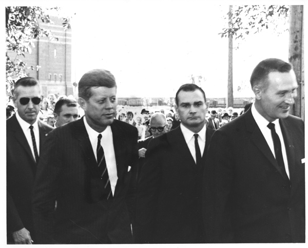 ATSAIC Art Godfrey, SA Gerald Blaine, and SA Walt Coughlin with JFK 9/25/63 North Dakota
