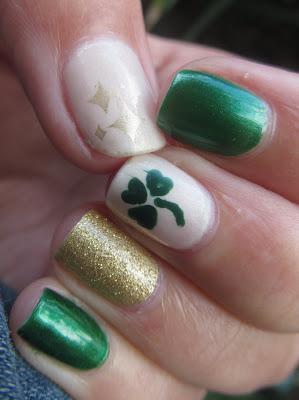 st patricks day nail design sally hansen emerald city