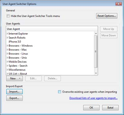 Import User Agent Switcher