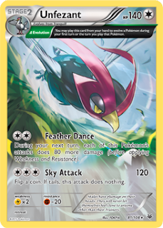 Unfezant Roaring Skies Pokemon Card