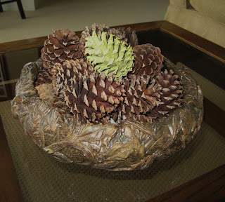 Spray Painted Pine Cone Centerpiece - close up