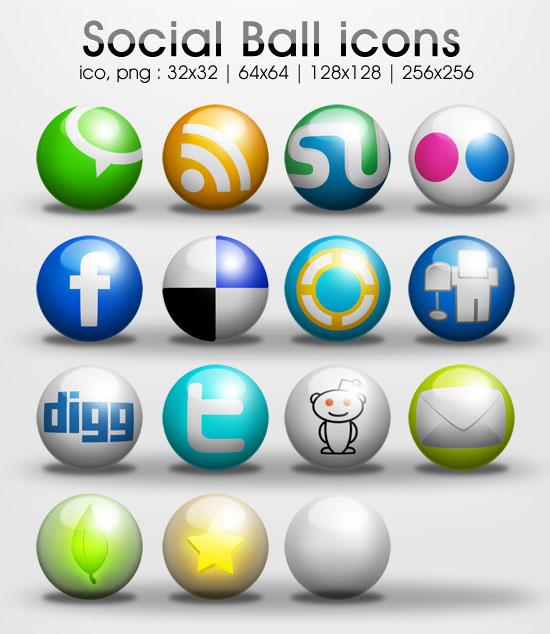Ball social icons