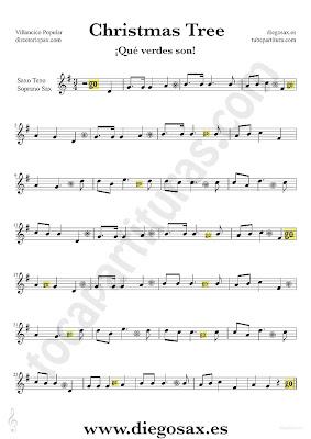 Tubepartitura Qué verdes son partitura para Saxofón Soprano y Tenor Partitura de Villancico de Navidad