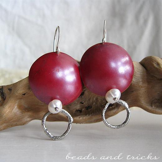 Orecchini in rame con patina rossa e argento 925 reticolato