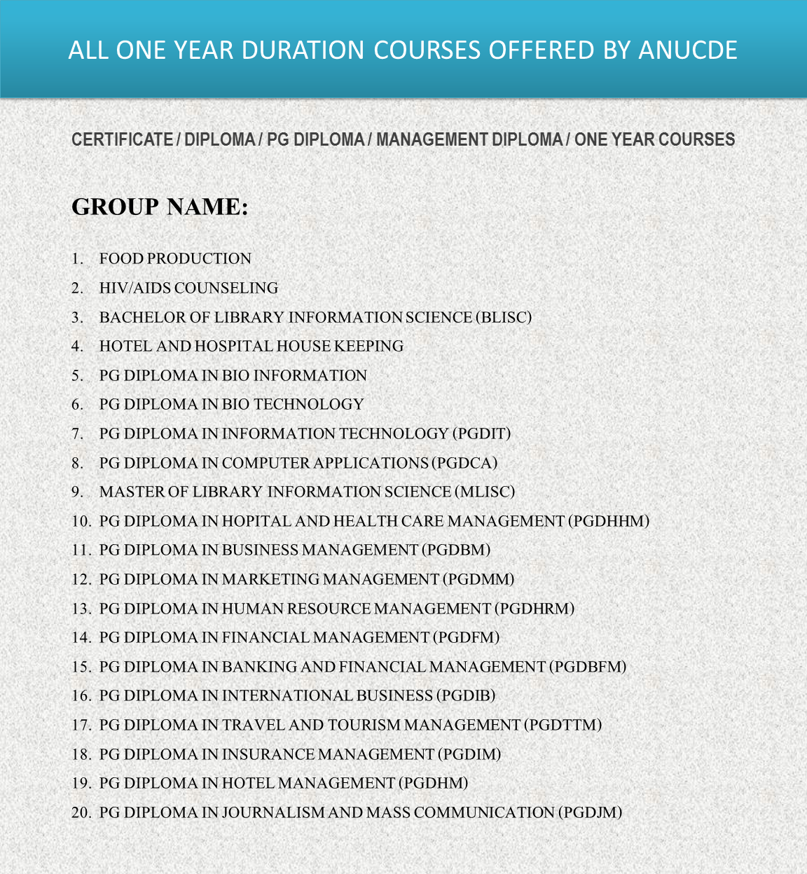 ALL ONE YEAR DURATION COURSES OFFERED BY ANUCDE