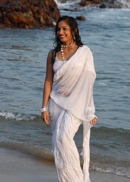 Madhavi Latha Hot in White Saree