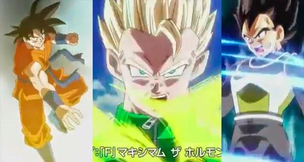 Goku, Vegeta y Gohan en Dragon Ball Z - Fukkatsu no F
