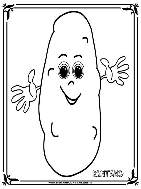 mewarnai kartun gambar kentang