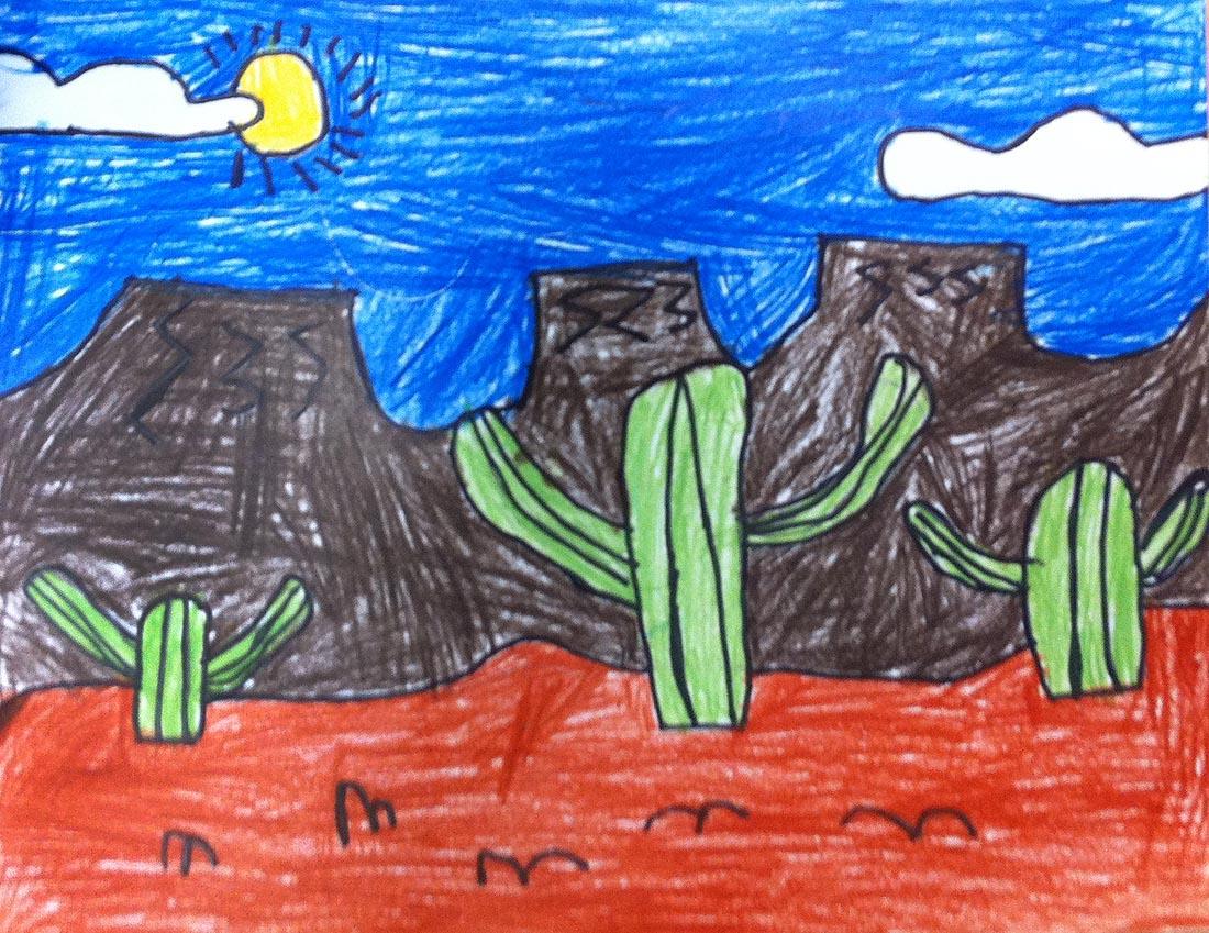 Desert landscape art projects for kids for Landscape art projects