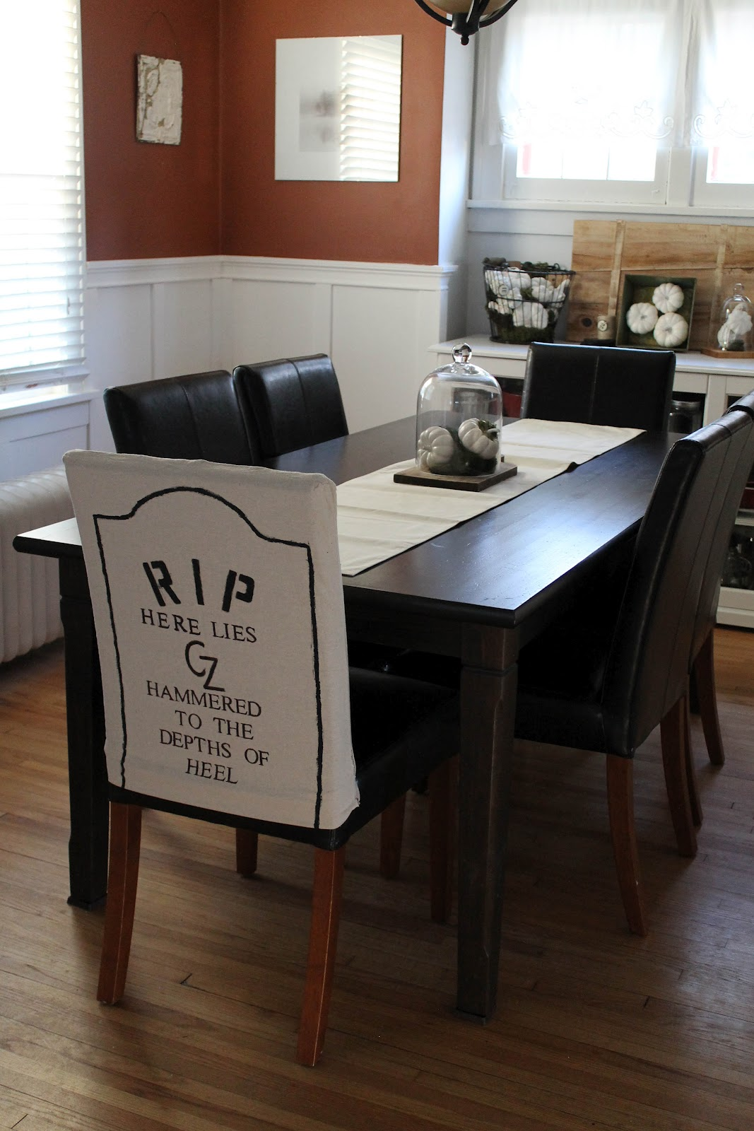 Wednesday September 26 2012 DIY Halloween Themed Gravestone Dining Room Chair Covers