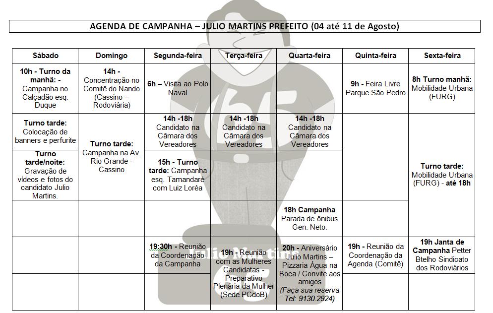 Agenda, Julio, Martins, Prefeito