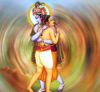 Krishna hugs Sudama