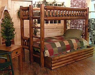 Wooden bunk beds what to choose log bunk bed adds the Log style beds