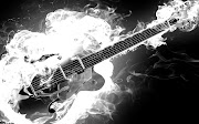 Wallpaper HD Music 12 electric rockabilly guitar on fire monochrome black and white smoke flames hd music desktop wallpaper great guitar sound www