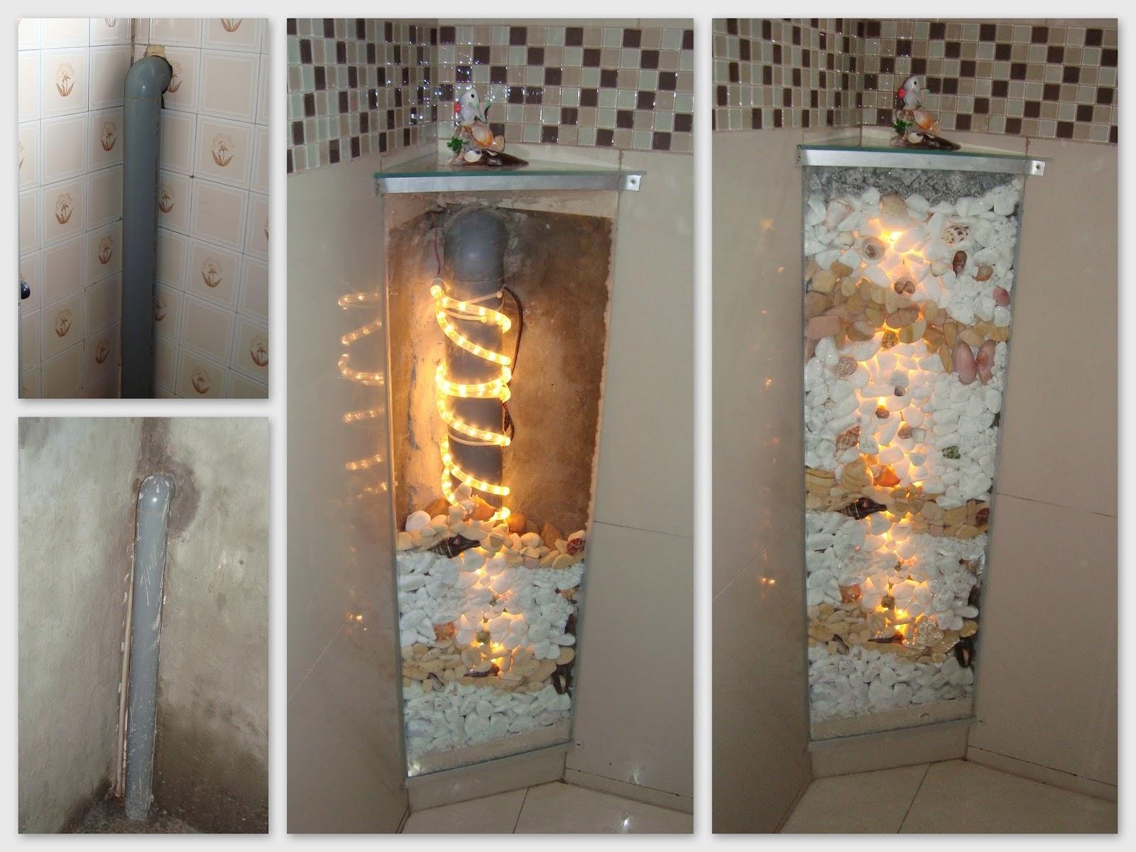 Terceiro foi feita a colocação das pedras conchas e caramujos  #996332 1600x1200 Banheiro Box Cortina