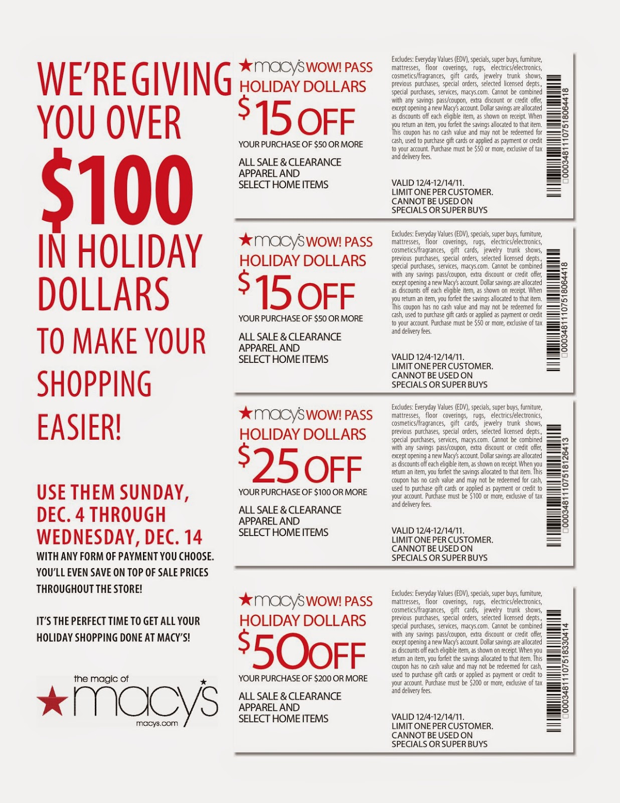 Macy discount coupon
