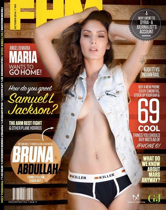 Bruna Abdullah Features on The Cover of FHM Magazine India October 2014