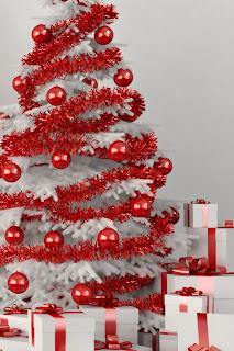 white Romantic Christmas Tree full of red balls