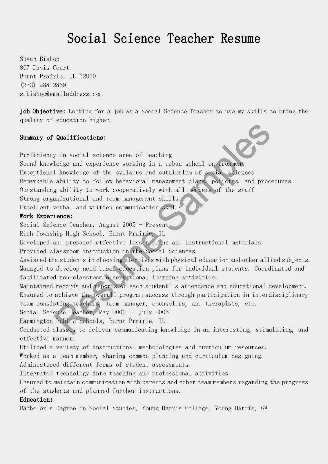 resume samples  social science teacher resume sample