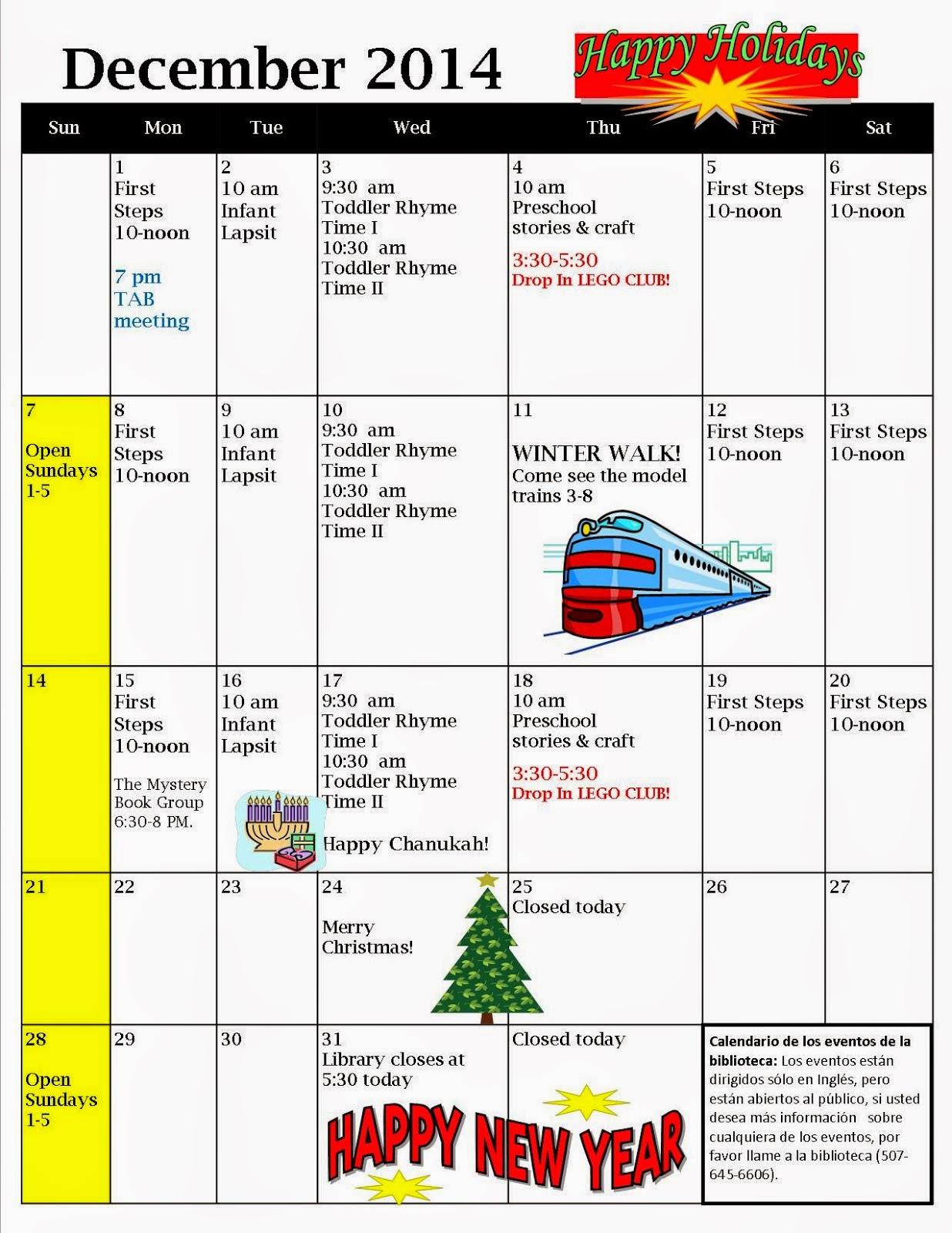 December Library Calendar