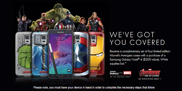 Buy the Samsung Galaxy Note 4 and get a set of 4 Avengers cases for free